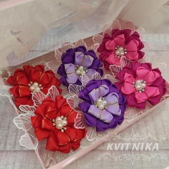 Набор резиночек. Резиночки из репсовых лент.Цветочек из лент.Красивые цветочки из репса. Для девочек