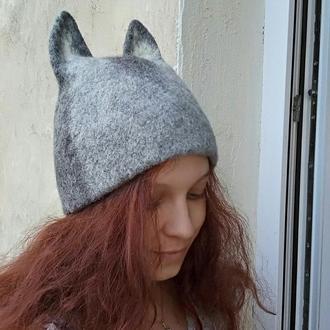 """Валяная шапка, зверошапка """"Волчонок""""."""