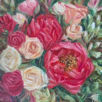 Картина маслом пионы цветы миниатюра