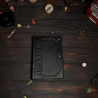 Записная кожаная книга. Именной блокнот