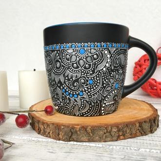 Чашка с серебрянным узором