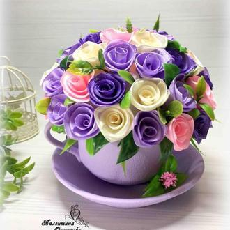 Цветочная чашечка / интерьерная композиция / роза из атласной ленты