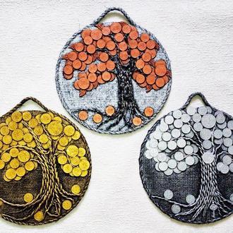Комплект из 3 монетных денежных деревьев