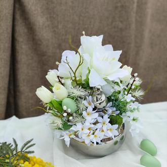 Весенняя, пасхальная композиция. Пасхальный декор. Великодня композиція. Подарок на 8 Марта.