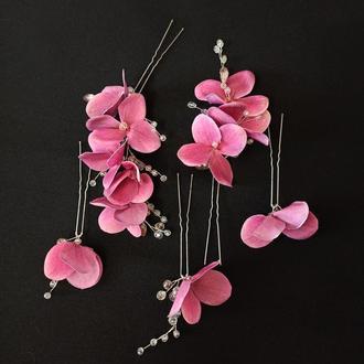 Украшения в прическу, набор шпилек цветы гортензии малинового цвета, 5 шт Ksenija Vitali