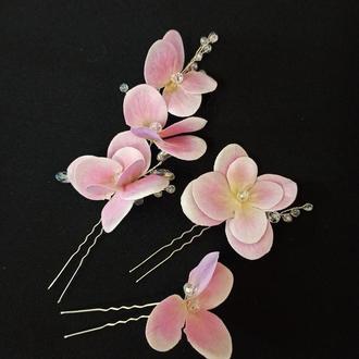 Прикраси в зачіску, набір шпильок квіти гортензії рожевого кольору, 3 шт Ksenija Vitali