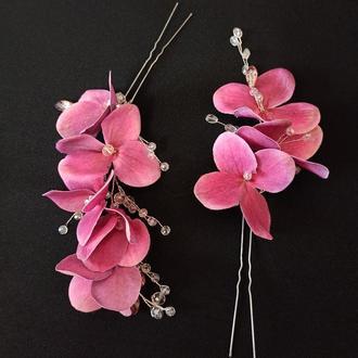 Украшения в прическу, набор шпилек цветы гортензии малинового цвета, 2 шт Ksenija Vitali