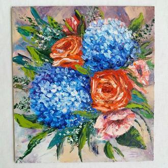 Картина маслом Гортензії і троянди
