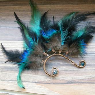 Кафф с перьями павлина Чародейка