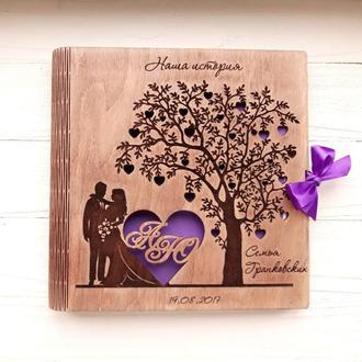 Свадебный фотоальбом из дерева