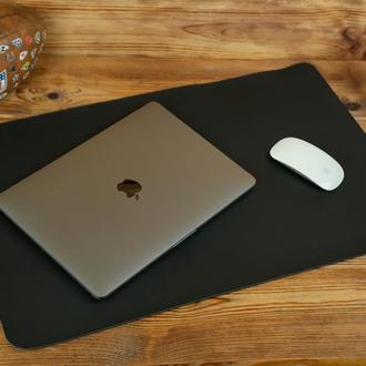 Кожаный бювар, подложка на стол 375 х 600 мм, натуральная кожа Grand, цвет черный