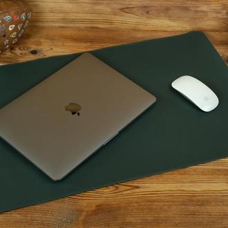 Кожаный бювар, подложка на стол 375 х 600 мм, натуральная кожа Grand, цвет зеленый