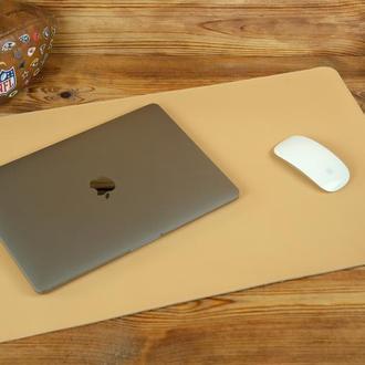 Кожаный бювар, подложка на стол 375 х 600 мм, натуральная кожа Grand, цвет бежевый