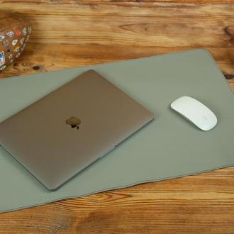 Кожаный бювар, подложка на стол 375 х 600 мм, натуральная кожа Grand, цвет серый