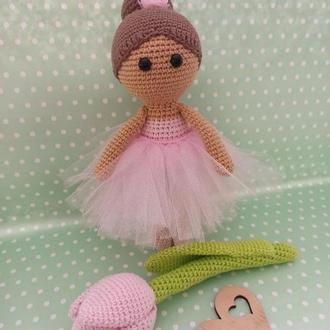 Набор кукла с тюльпаном, мягкие игрушки, кукла балерина и цветок