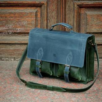 Кожаный мужской деловой портфель. Кожаная сумка для документов