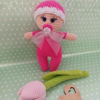 Набор кукла с тюльпаном, мягкие игрушки, пупсик и цветок