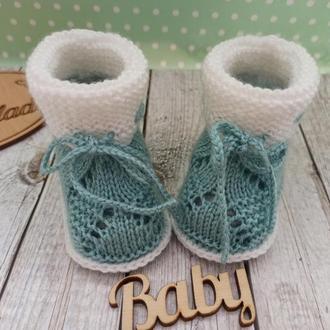 Вязаные детские пинетки, пинетки ботиночки, вязаные пинетки сапожки