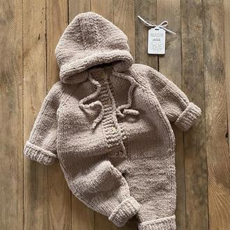 Детский вязанный комбинезон . комбинезон для новорожденного