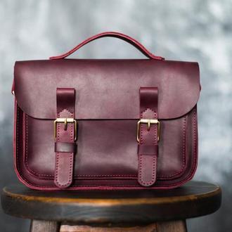 Женская сумка-сэтчел из кожи Crazy Horse. Женская сумка-портфель через плечо из кожи Крейзи Хорс