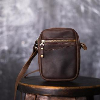 Мужская сумка через плечо из кожи Crazy Horse. Мужская сумка из кожи Крейзи Хорс