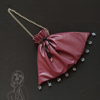 Фиолетовая сумка-мешок из эко-кожы