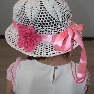 Шляпка летняя для девочки с цветами на лентах, 5 цветов на выбор
