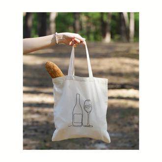 Еко сумка, торбинка для покупок, натуральна сумка-шопер, хлопковая сумка, минималистичный шопер