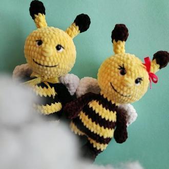 Плюшевые пчелки (набор).  Мягкая игрушка для ребенка. Вязаные игрушки крючком