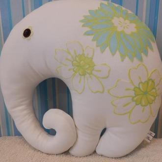 """Интерьерная подушка """"Слон"""" с аппликацией"""