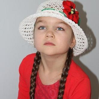 Белая шляпка с красным маком, панамка, пляжная шляпка