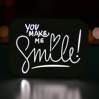 Ночник из дерева с фразой - You make me smile
