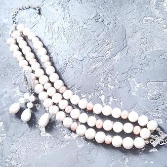 Браслет и серебряные серьги из натурального белого и персикового жемчуга