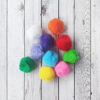 Помпоны разноцветные для творчества d=27-30 мм. 10 шт