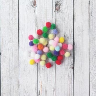 Помпоны разноцветные для творчества d=10 мм. 50 шт