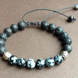 Мужской браслет из натурального камня. Обсидиан , шунгит, агат.