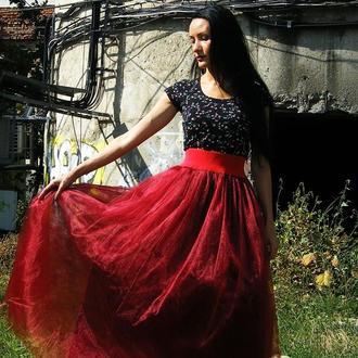 Бордовая юбка пачка в пол макси эластичный пояс