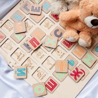 Деревянный пазл-вкладыш русский алфавит 45х35 см (буквы, животные)