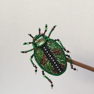 Брошь жук из итальянского стекляруса!!