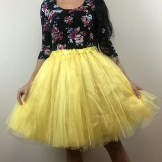 желтая яркая юбка пачка миди