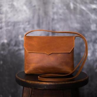 Женская сумка через плечо из кожи Crazy Horse. Женская сумка из кожи Крейзи Хорс