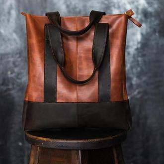 Женская сумка-шоппер из кожи Crazy Horse. Женская повседневная сумка из кожи Крейзи Хорс