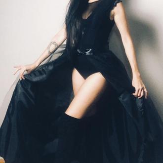 черная юбка пачка хвост длинный, юбка шлейф с подкладкой