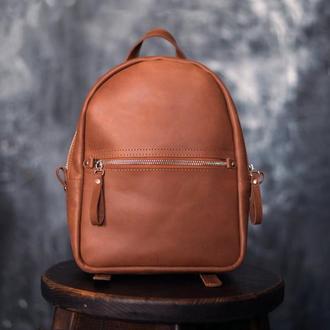 Женский мини рюкзак из кожи Crazy Horse. Маленький женский рюкзак из кожи Крейзи Хорс