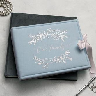Блакитний весільний фотоальбом, Сімейний альбом, Подарок жене, Річниця весілля, Альбом в наличии