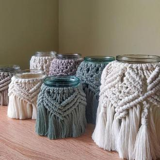 ваза макраме, подсвечник, декор для дома