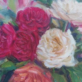 Миниатюра картина маслом розы цветы