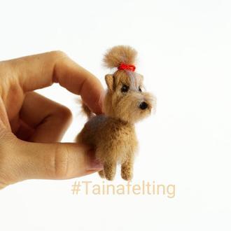 Игрушка из шерсти, миниатюра для кукол, собака йорк.