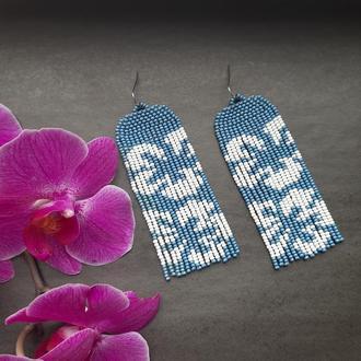 Сережки синие с цветами, голубые серьги в цветы, цветочный принт, подарок 8 марта