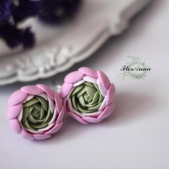 """Серьги цветы из полимерной глины """"ранункулюсы"""""""